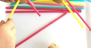 Fine motor threading activity using straws and cardboard tubes