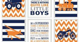 Transportation Nursery, Vehicle Art, Baby Boy Nursery, Planes Trains Trucks and Toys, Boy Rules, Boy Room Decor, Orange, Navy Blue, Gray